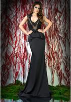 Reference Images V-Neck Elastic Silk like Satin Black Evening Gowns Sheer V Neck Sleeveless Black Appliques Lace Beaded Peplum Sheath Formal Dresses Formales Evening Dresses HL662