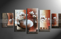 Wholesale multi panel beautiful chocolate magnolia flower oil painting warm wall canvas art home decoration framed