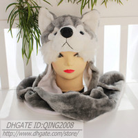 Wholesale EMS Ship Winter Warm Hats Cute Cartoon Animal Hat Earmuff Scarf Gloves For Kids and Adults