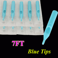 Flat Tips disposable tattoo tips - 7FT Disposable Tattoo Tips Blue Color for Tattoo Gun Power supply Needles Grips Ink Cups Kits