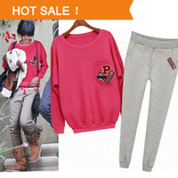 Men Pullover Solid 2014 New Women Sport Suit Casual Hoody Set Letter Hoodies and Pants 2pcs set Sweatshirts