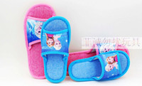 Wholesale FROZEN Elsa Flip flop Adult slippers Children slippers election Front cloth fabric waterproof plastic material bottom