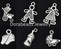 Chains B08081 Slide Free Shipping! 30 Mixed Silver Tone Baby Charms Pendants (B08081)