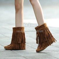 Double Ankle High Heel Fringe Boots For Women 9 10 11 40 41 42 43