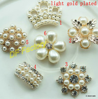 Wholesale light gold alloy metal rhinestone button with pearl for Hair Flower Wedding Invitation Scrapbooking accessories