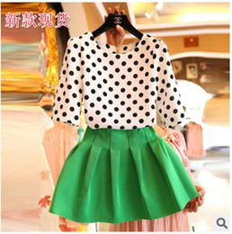 Wholesale Korean Style Latest Summer Hot Sale Suits Long Sleeves Polka Dot T shirt Chiffon Skirt Two Pieces Female Ouifits