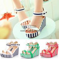 Women Spool Heel PU Womens Shoes Cheap Big Plus Size Green Red Blue And White Stripe Patent Leather Ankle Strap Platform Wedge High Heel Sandals