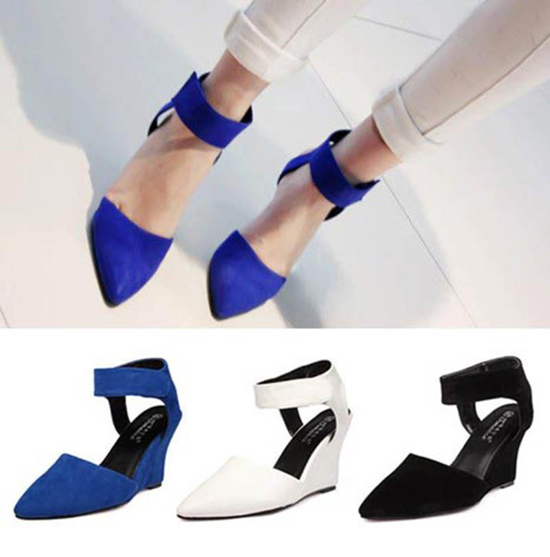 Pointed Toe Cover Closed Toe Ankle Strap 3 Inch High Heels Black ...