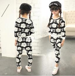 Wholesale Hot Children Girls Suits Long Sleeve Flower Printed Tshirts Hallen Trousers Pants Set Child Childdren s Outfits Kids Outwear J1385
