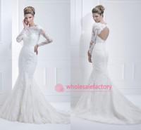 Wholesale 2016 Ellis Mermaid Wedding Dresses Bateau Open Back Illusion Long Sleeve with Appliques Court Train Vintage White Lace Bridal Gowns