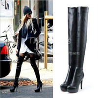 Cheap Women Big Plus Size Sexy Black Brown Silver Platform Ultra High Heel Stiletto Long Leg Over The Knee Thigh High Boots 34-43 4-11