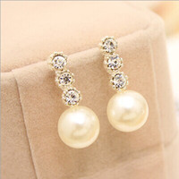 Cheap Fashion Girls Earrings Pearl Party Jewelry Women Gifts 2014 Charming Stud Earrings 082403