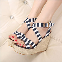 Women Spool Heel Rubber 2014 Best Selling Summer Strappy Cross Casual Wedge Sandals For Women Stripe Red Blue Lady Korean Cute Sandals Shoes Crochet