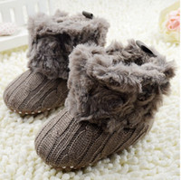 boots baby fur - Retail Winter Baby Snow Boots Fur Knitted Wool Thicken Warm Toddler Boy Girl First Walker Shoes Infant Boots Newborn Shoes M WD44
