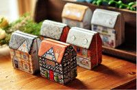 Wholesale New Hot Sale European candy box Wedding favors gift box sweet boxes mini small house painted tin