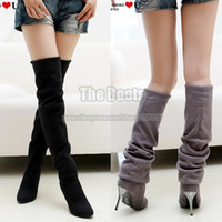 Half Boots Women PU Black Brown Grey Suede Long Winter Over The Knee Thigh Metal Stiletto High Heel Boots For Women Plus Size 34 40 41 42 43 9 10 11