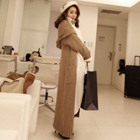 Wholesale Autumn winter woman casual loose hooded ankle length knitted jacket maxi cardigan maxi sweater coat