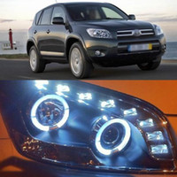 Wholesale Super Dual Angel Eye Projector Lens LED DRL Headlight for Toyota RAV4