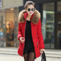 women winter coats - 2014 Winter Women Jacket Coat Thicken Slim Female Fur Collar Long Down Coat Casual Parka Plus Size XL