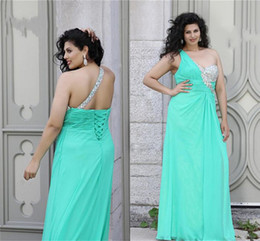 Wholesale SSJ Plus Size Beads Crystal Prom Dresses One Shoulder Green Angela Chiffon A Line Long Formal Gowns babybride D2205