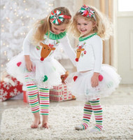 Wholesale The New Christmas Children Fall Outfits Clothing Set The Fawn Printed Tshirt Stripe Ball Gown Skirt Pants Girl Suit Kids Set WD47