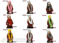 Wholesale 40pcs Drop Shipping Colorful Color Cartoon Animal Plush Soft winter Hat With Ear Flaps and Hand Pockets