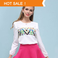 V-Neck Regular Acetate New 2014 Spring Summer Fashion Full Sleeve O-neck Chiffon Women Blouses Casual Bottoming Shirts Plus Size Tops Ladies Blouses XL