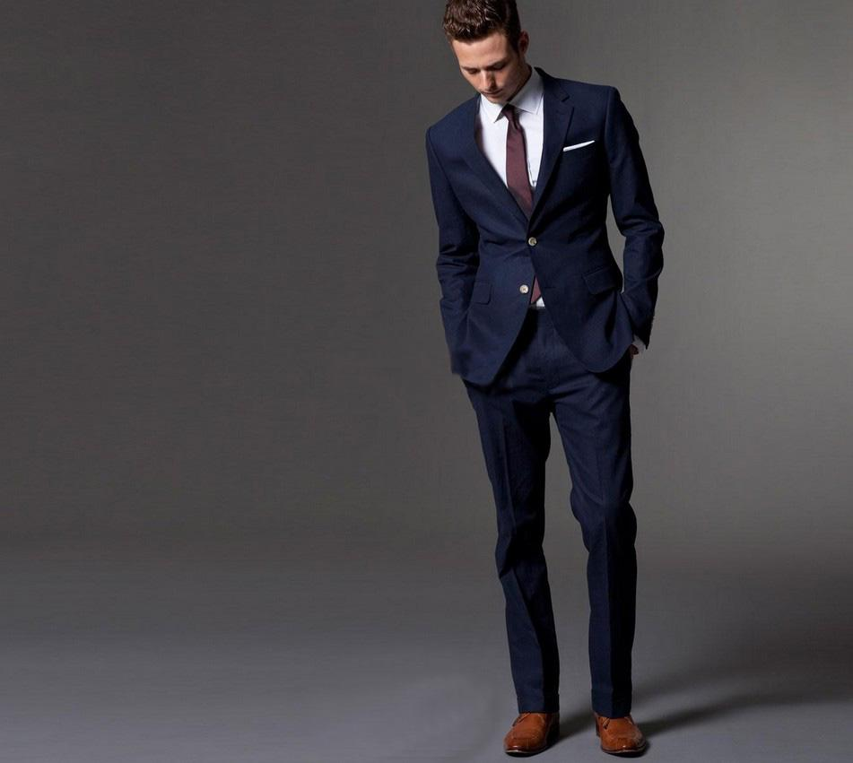 Custom Men's Suit, the Dark Blue Dress Tailored Man, Slender Style