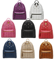 Wholesale Authentic Brand MCM Classic Backpack Korean Stylish High Quality PVC Rivets Handbags Schoolbag Travel Daily Bag Rain EXO Same Design