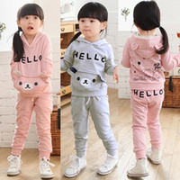 Girl kids sweat suits - Spring and Autumn Kid girls suit pink Children s boys girl Cartoon Bear Sport Coat and Pants Clothes set tracksuit sweat suits
