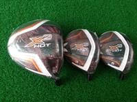Wholesale golf clubs X2 hot driver loft x2 hot fairway woods regular flex free headcovers