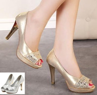 Women Pumps Spring and Fall Luxury gold shoes sexy high heel peep toe pumps wedding bride shoes silver rhinestone prom gown dress shoes 2 colors size 35 to 39