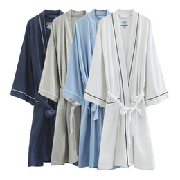 Wholesale Cotton bathrobe bathrobe cotton nightgown sweat steam service hotel spa salons use NY0049