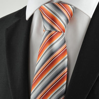 Wholesale HOT SALE Neck Ties New Striped Orange Grey Mens Tie Suit Necktie Party Wedding Holiday Gift KT1068
