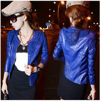 Fashion women winter leather jacket - 2014 New Arrival Fall Winter Women Shoulder Embroidered Hollow PU Leather Jacket Crochet Lace Slim Washed Female Jacket