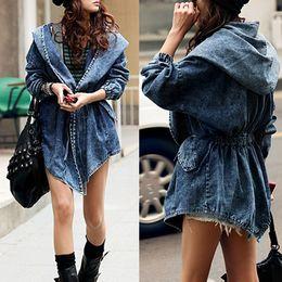 Wholesale New Vintage Hooded Jeans Jacket Women Batwing Sleeve Loose Belt Pockets Denim Jackets Jaqueta Feminina WWF073