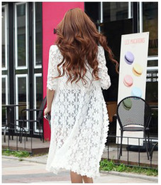 Wholesale Women Lace Edge New Style Star Cochet Long Cardigan Long Sleeves Fashion Perspective Hollow Sunscreen Thin Female Shawl