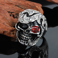 Wholesale punk style Vintage Stainless Steel Black Silver Tribe Red CZ Eye Skull Cast Biker Mens Ring