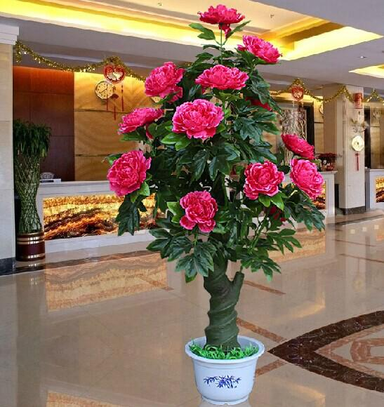 Wholesale 2014 New Artificial Rose Peony Silk Flower Tree Potted Plants For Christmas Ornament