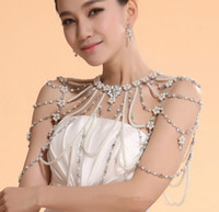 Necklaces Faux Pearl Rhinestone New Style Wedding Bridal Party Ladies Girl Crystal Rhinestone Pearls Necklace Jewelry Set Wraps Jacket Collars Shoulder Long Full Body Chain