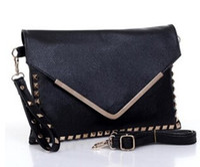 Wholesale women envelope bags new retro punk punk rivet v word envelope clutch bag shoulder bag