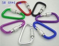 Camp Tools   Wholesale-10pcs lot 5# Aluminum Carabiner Durable Climbing Hook with Security Lock for Camping Accessory Fit Outdoor Sport Free Shipping