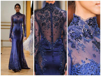 Reference Images High Neck Chiffon High Neck Zuhair Murad Evening Dresses 2015 Purple Mermaid Prom Dresses Backless