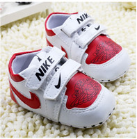 Wholesale 2014 New Fashion Baby First Walkers Korean Version Shoes Lovely Little Boy Letter Pattern Shoes Red White Patent Leather H0383 TX