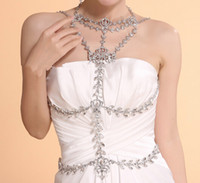Adults Women 100% brand new Fashion Wedding Bridal Bridesmaid Ladies Dress Silver Crystal Rhinestone Necklace Jewelry Set Long Full Body Shoulder Chain Blet Wrap Jacket