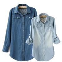 Lapel Neck Long Sleeve Long 2014 European Clothing Women Ladies Retro Vintage Long Sleeve Blue Jean Denim Shirt Tops Blouse Women Clothes Free Shipping SizeS M L XL XXL