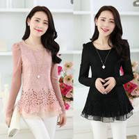 Scoop Neck Puff Sleeve Long Sleeve 2014 Hot Korean Fashion Women's Floral Chiffon Tops Long Sleeve Shirt Lace Blouse Tops Blouse Women Clothes Free Shipping Size M L XL XXL