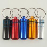 Wholesale colors Bigger x17mm Waterproof Aluminum Pill Cache Capsule box Cash Stash Container Key rings bottle keychain holder