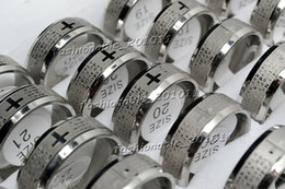 FREE lots jewelry Silver tone English Cross Christian Prayer Stainless Steel Man's Band Rings