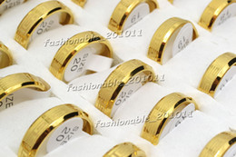 FREE lots jewelry Gold Tone Stainless Steel Man Woman Band Rings Width 6mm